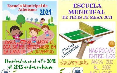 En marcha las escuelas municipales de atletismo y tenis de mesa